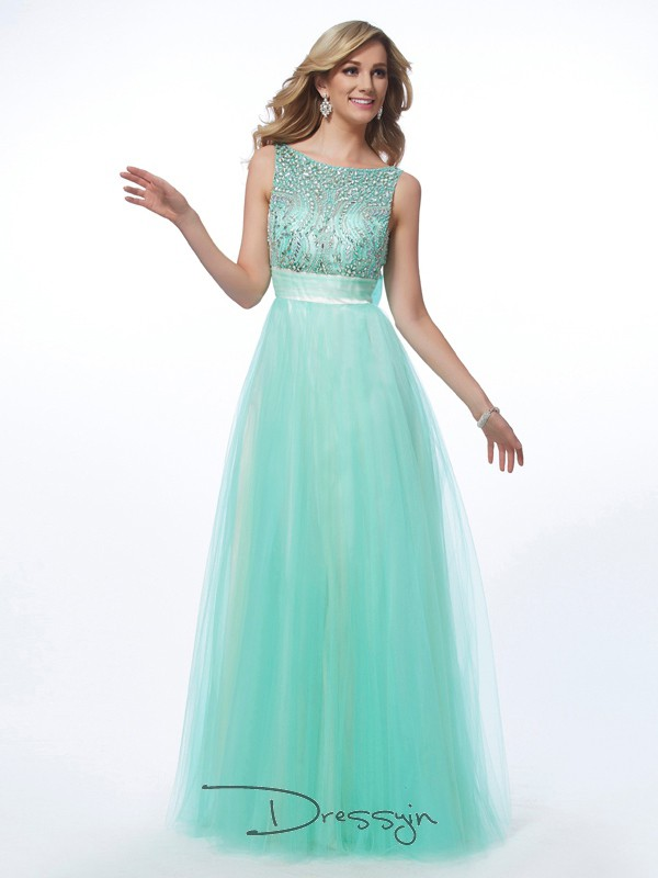 A-Line/Princess Sleeveless Bateau Beading Net Floor-Length Dress