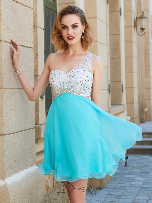 A-Line/Princess Sleeveless One-Shoulder Beading Chiffon Short dress