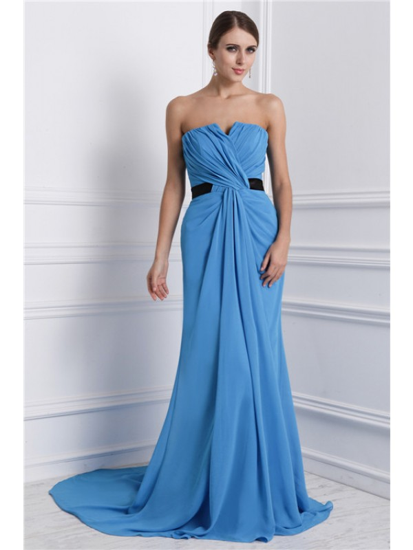 A-Line/Princess Strapless Sleeveless Ruffles Chiffon Long Dress