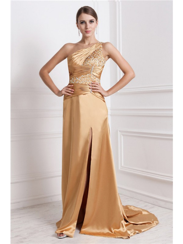 A-Line/Princess One-Shoulder Sleeveless Beading Elastic Woven Satin Long Dress