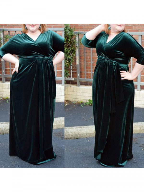 Sheath/Column V-neck Ruched Floor-Length Velvet Plus Size Dress