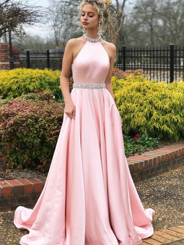 A-Line/Princess Halter Sleeveless Beading Satin Long Dresses