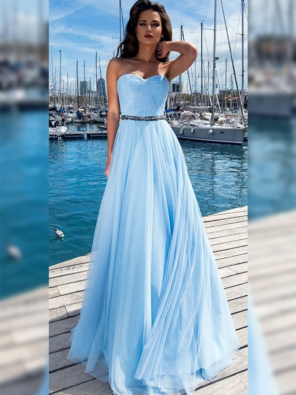 A-Line/Princess Sweetheart Sleeveless Ruffles Sequins Long Dresses