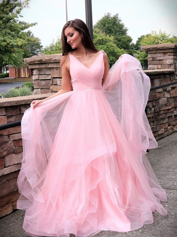 A-Line/Princess V-neck Sleeveless Sweep/Brush Train Tulle Ruched Dresses