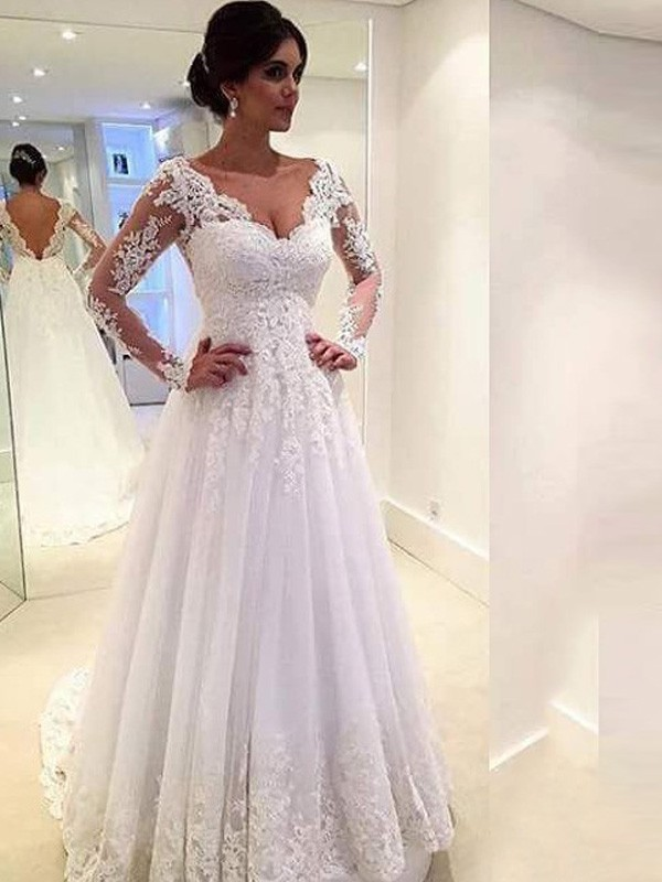 Ball Gown V-neck Long Sleeves Long Tulle Wedding Dress