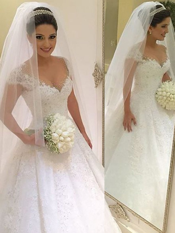 Ball Gown V-neck Sleeveless Beading Long Tulle Wedding Dress