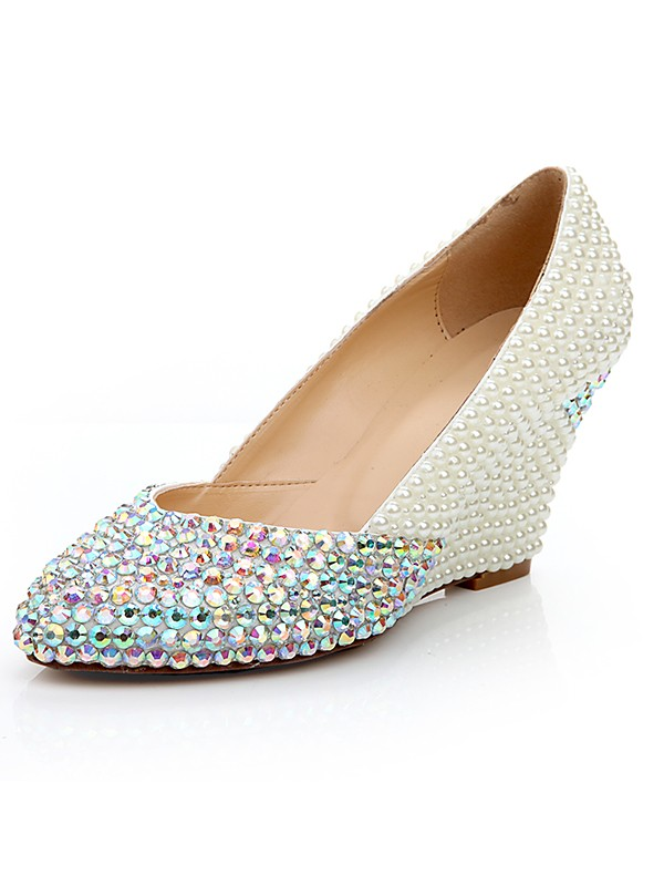 5162401bc Women s Patent Leather Wedge Heel With Rhinestone Pearl Wedding Shoes