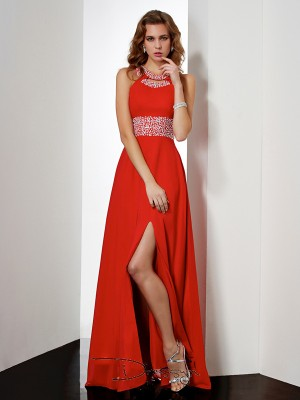 Empire Sleeveless Jewel Acrylic Jewels Chiffon Floor-Length Dress