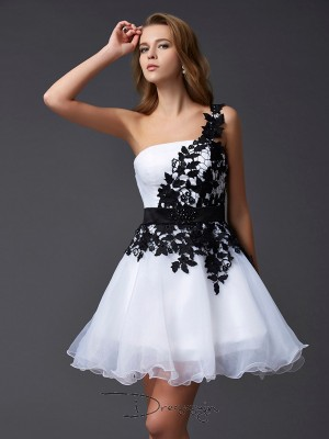 A-Line/Princess Sleeveless One-Shoulder Lace Organza Short Dress
