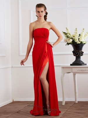 Sheath/Column Sleeveless Strapless Pleats Chiffon Floor-Length Dress