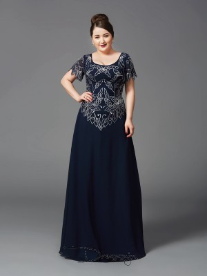 A-Line/Princess Chiffon Short Sleeves Square Long Plus Size Mother of the Bride Dress