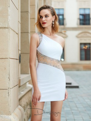 Sheath/Column Sleeveless One-Shoulder Beading Net Short dress