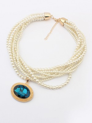 Occident Palace Retro Big Gemstone Pearls Necklace