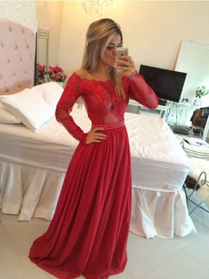 A-Line/Princess Long Sleeves Off-the-Shoulder Chiffon Applique Long Dresses