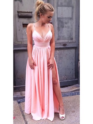 A-Line/Princess Straps Sleeveless Ruched Long Chiffon Dress