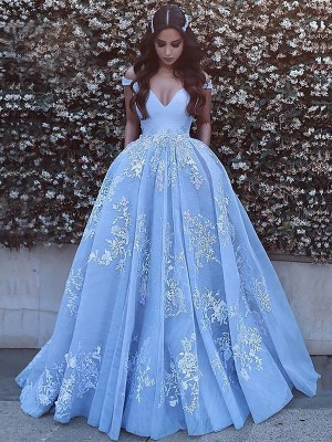 Ball Gown Off-the-Shoulder Sleeveless Applique Long Tulle Dress
