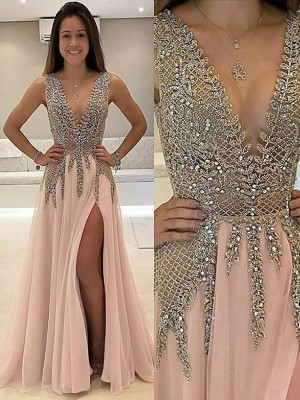 A-Line/Princess V-Neck Sleeveless Beading Long Tulle Dress