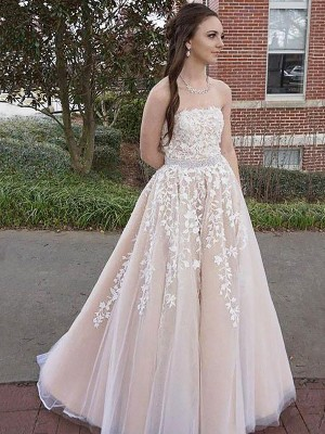A-Line/Princess Strapless Sleeveless Applique Long Tulle Dress