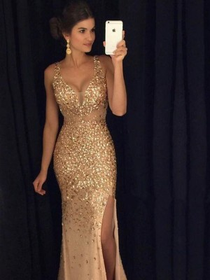 Sheath/Column V-neck Sleeveless Sequin Long Jersey Dress