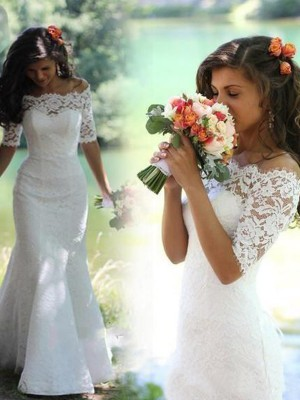 Trumpet/Mermaid Off-the-Shoulder 1/2 Sleeves Long Lace Wedding Dress