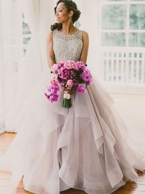 Ball Gown Scoop Sleeveless Beading Long Tulle Wedding Dress