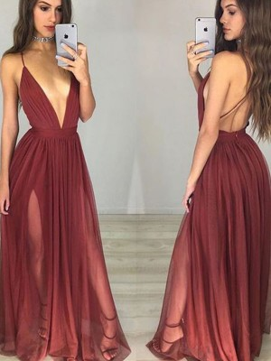 A-Line/Princess Spaghetti Straps Sleeveless Ruched Long Chiffon Dress