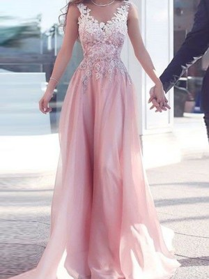 A-Line/Princess Sweetheart Sleeveless Applique Long Chiffon Dress