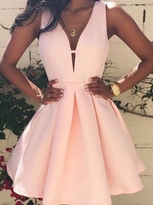 A-Line/Princess V-neck Sleeveless Short Satin Dress