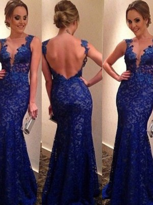 Trumpet/Mermaid Sleeveless V-neck Lace Applique Long Dresses