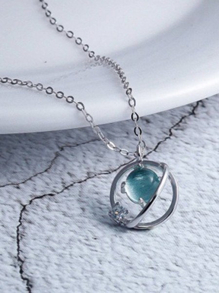 Korean 925 Sterling Silver Necklaces With Crystal Charming