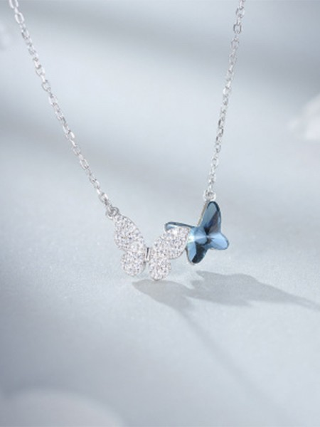 Simple S925 Silver With Butterfly Women's Necklaces