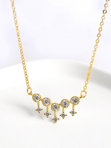 Women's S925 Silver Necklaces With Rhinestone