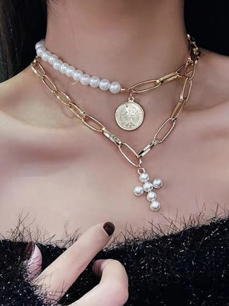 Hot Sale Women's Vintage Alloy With Pearl Necklaces