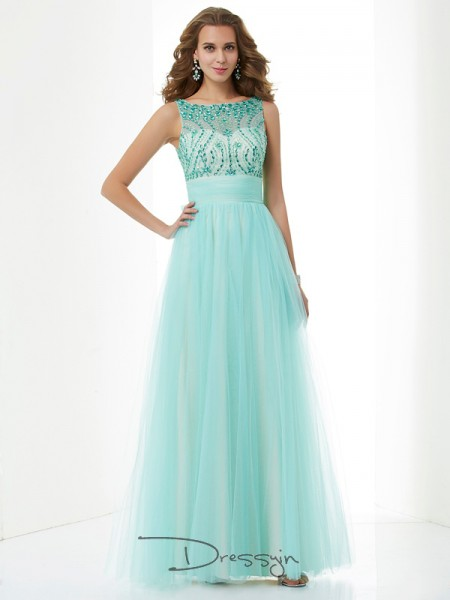 A-Line/Princess Sleeveless Bateau Beading Elastic Woven Satin Net Floor-Length Dress
