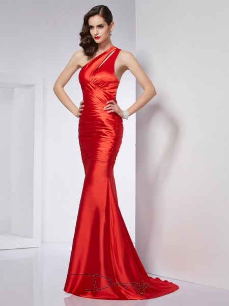 Sheath/Column Sleeveless One-Shoulder Beading Elastic Woven Satin Long Dress