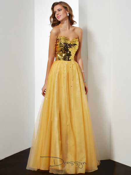 Ball Gown Sleeveless Sweetheart Sequin Organza Floor-Length Dress