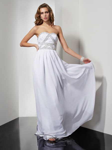 Sheath/Column Sleeveless Strapless Sweetheart Beading Chiffon Floor-Length Dress
