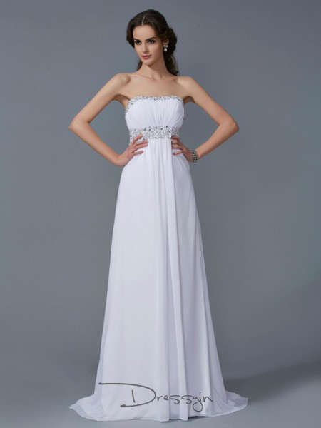 A-Line/Princess Sleeveless Strapless Beading Chiffon Long Dress