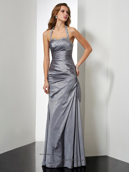 Trumpet/Mermaid Sleeveless Halter Beading Bowknot Taffeta Floor-Length Dress