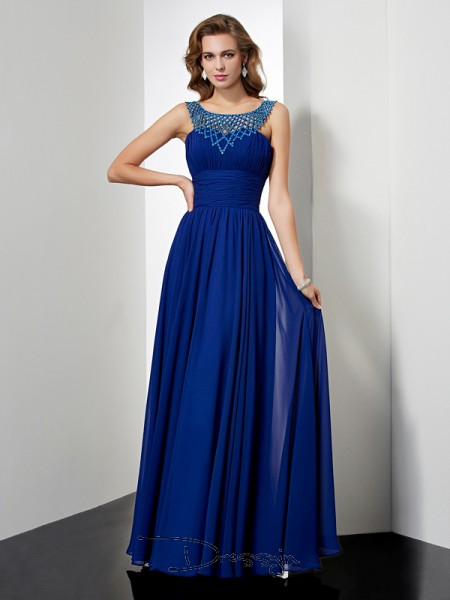 Empire Sleeveless High Neck Beading Chiffon Floor-Length Dress