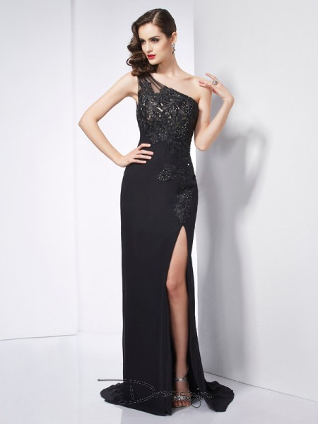 Sheath/Column Sleeveless One-Shoulder Applique Chiffon Long Dress