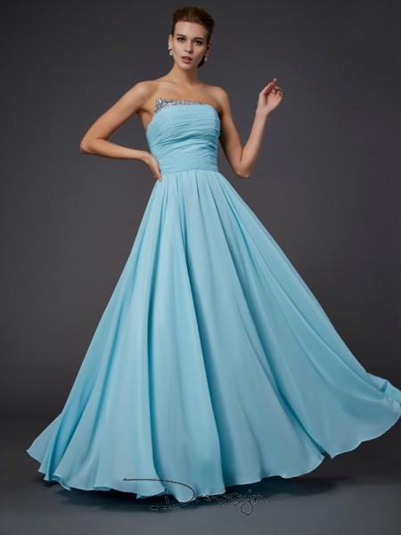 Sheath/Column Sleeveless Strapless Beading Chiffon Floor-Length Dress