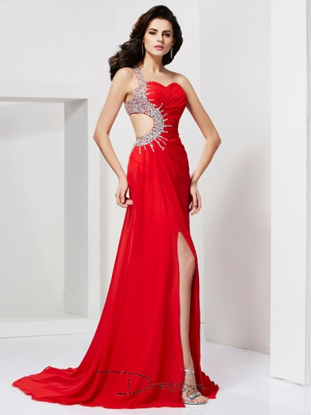 Trumpet/Mermaid Sleeveless Sweetheart One-Shoulder Pleats Beading Chiffon Long Dress