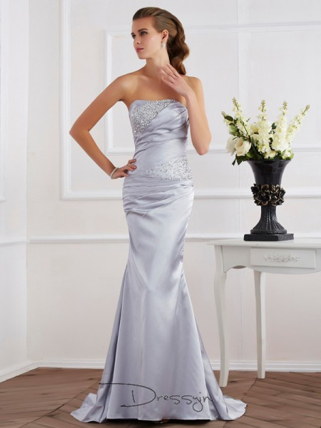Trumpet/Mermaid Sleeveless Strapless Beading Elastic Woven Satin Long Dress