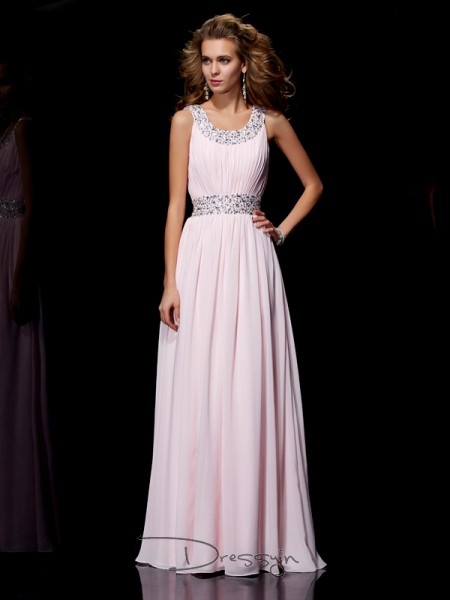 A-Line/Princess Sleeveless Scoop Beading Chiffon Floor-Length Dress