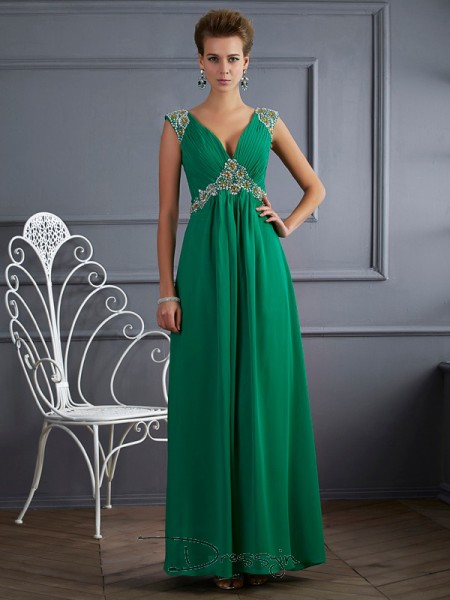 A-Line/Princess Short Sleeves V-neck Beading Chiffon Ankle-Length Dress