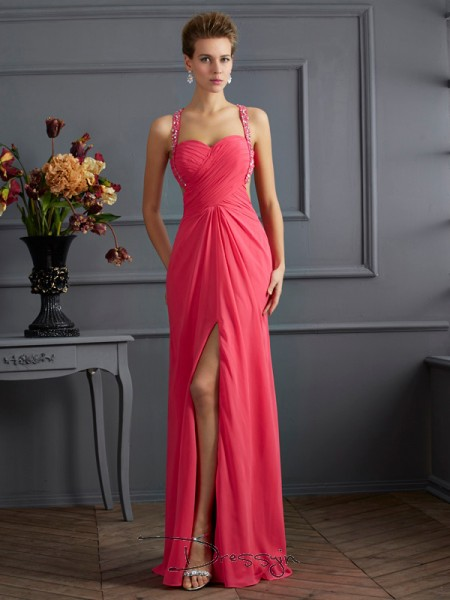 Empire Sleeveless Sweetheart Straps Ruffles Beading Chiffon Floor-Length Dress