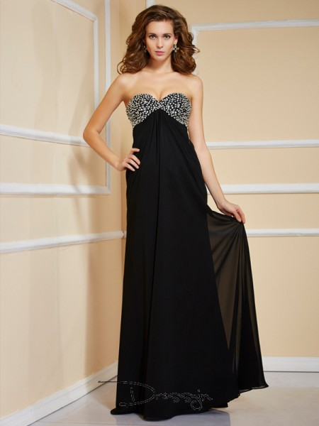 Sheath/Column Sleeveless Sweetheart Ruffles Beading Chiffon Floor-Length Dress,