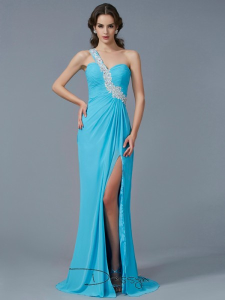 Sheath/Column Sleeveless One-Shoulder Beading Applique Chiffon Long Dress