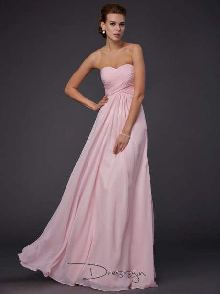 Sheath/Column Sleeveless Sweetheart Ruffles Chiffon Floor-Length Dress